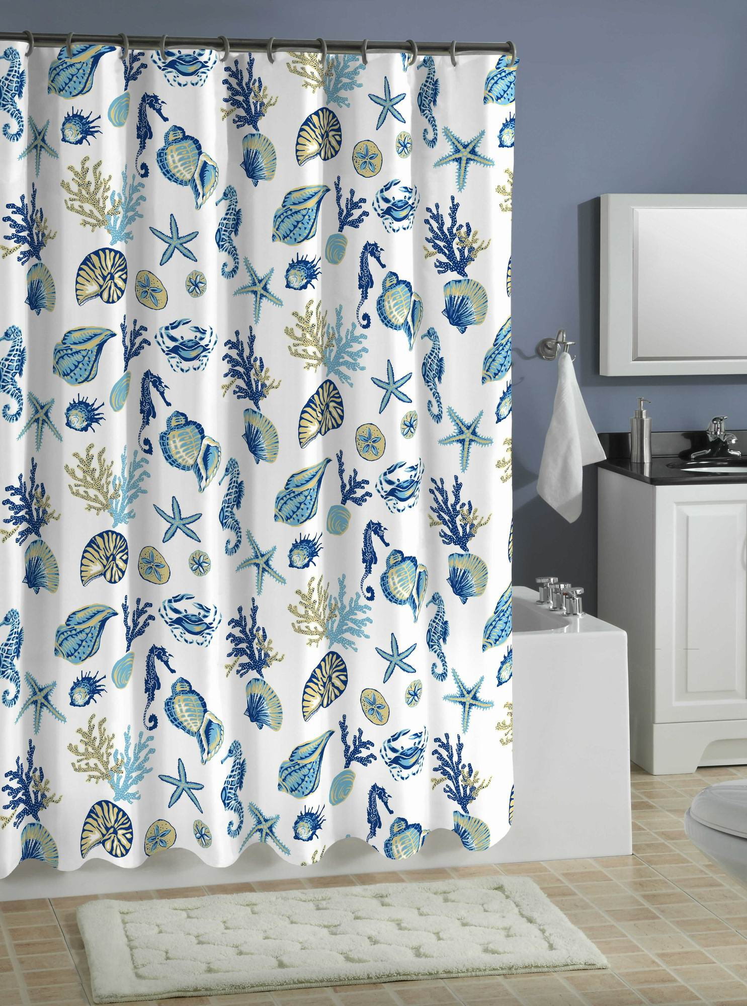 seashell printed shower curtain