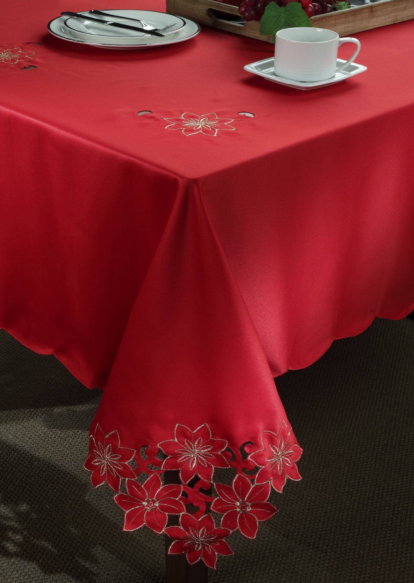 Red Poinsettia Tablecloth With Metallic Thread Embroidery